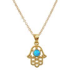 Gold Plated Hamsa Necklace Blue Opal Evil Eye Filigree Hand Of Fatima Pendant
