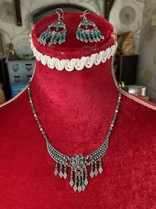 Vintage Indian Jewellery Sterling Silver Necklace And Earrings Set