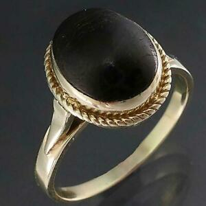 Unusual High Solid 9k Yellow GOLD BLACK CORAL CABOCHON SOLITAIRE RING Sz Q1/2