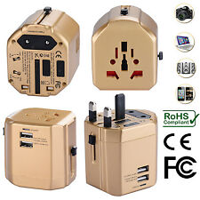 Universal World Travel Adapter With Dual USB Charger Wall AC Power -Gold