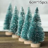 15x Christmas Pine Tree Xmas Mini Snow Small Trees Village House Tabletop Decor