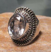 925 silver 10gr rock quartz ring UK Q½-¾/US 8.5-8.75. Gift Bag.