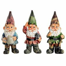 Garden Gnome Ornaments Set of 3 Traditional Polyresin Gnomes 11cm
