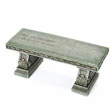 NEW 15-Inch Stone Resin Grey Angel Quote Engraved Top Garden Patio Outdoor Bench
