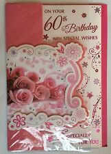 On Your 60th Birthday With Special Wishes 3 Fold Birthday Card Wordy Versey