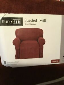 Sure Fit Sueded Twill Chair Slipcover Box Cushion Color Sangria  Relaxed Fit