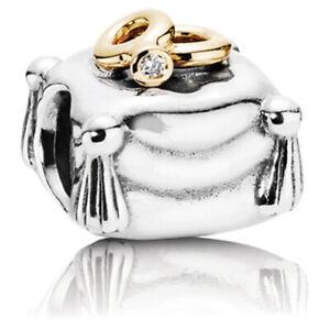 *Pandora Sterling Silver & 14k Romantic Union w/Diamond Charm #790549D