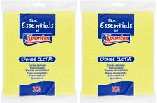 2x Spontex Essentials Absorbent Sponge Wiping Cleaning Cloths - Pack of 4