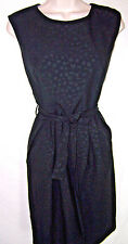 Calvin Klein black dress career, 10, pattterned, lined, belted