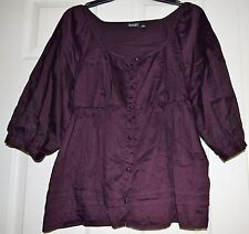 UC Woman's petite  a.n.a. burgundy blouse w/embroidered sleeves PL casual/career