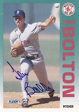 1992 Fleer Signed #33 Tom Bolton Red Sox  JSA Autograph