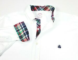 Brooks Brothers Supima Oxford Solid White Long Sleeve Shirt Large Regular