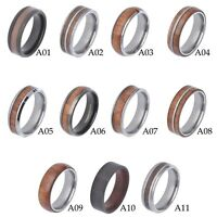 Black Men's Tungsten Carbide ring Red Wood Inlay Wedding Band Mens Jewelry spj