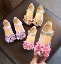 Princess Flats Bow Shoes for Infant Baby Girl Children Kids Dance Wedding Shoes
