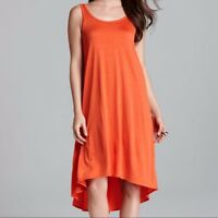 Eileen Fisher Firefly Red Orange Silk Flare Midi Sleeveless Dress Small