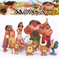 12PCS/SET Disney Moana Pua Maui Heihei Decorations Mini PVC Toys Action Figures