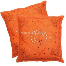 Ethnic Embroidered Cushion Cover 60 x 60 cm Cotton 24 x 24 Throw Pillow Covers