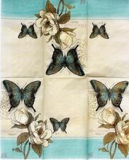 Set of 2 Single Guest Towels Buffet 2-ply Napkins - Magnolia Green Butterfly