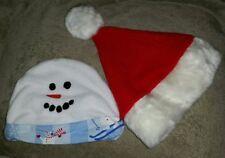 baby winter hats. skiing snowman and santa hat. Christmas. Holiday