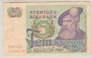 Sweden/Sveriges Riksbank Pick#51 1981 5 Kronor