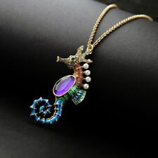 Beautiful Retro Alloy Cute Colored enamel seahorse pendant necklace Fashion