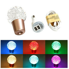 Universal Ball Crystal Bubbles LED Light Colorful Car Manual Gear Shift Knob JDM