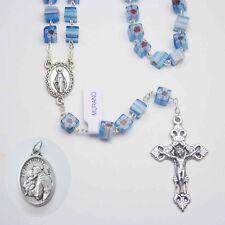 Cubed Murano Murrina Rosary -  Blue - Bonus St. Anthony Relic Medal