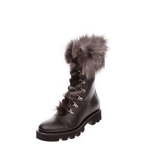 RRP €940 FABIANA FILIPPI Leather & Fox Fur Combat Boots Size 37.5 UK 4.5 US 7.5