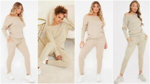 New Womens Ladies Knitted Off shoulder Lounge Wear Tracksuit Set Casual Joggers