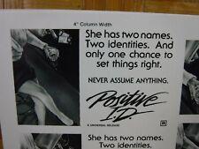 POSITIVE I.D. Movie Mini Ad Sheet Vintage Advertising Poster Film