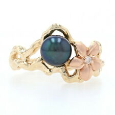 Maui Divers Tahitian Black Pearl & Diamond Plumeria Flower Ring Yellow Gold 14k