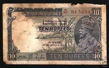 BRITISH INDIA 10 RUPEES P16  1922 KING GEORGE V ELEPHANT RARE MONEY BANK NOTE