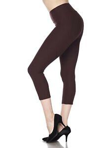 Women's 3 inch High Waistband Capri Leggings For Yoga Casual Soft Slim