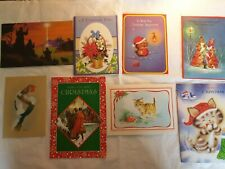 More details for vintage christmas cards cats robin flowers victorian style