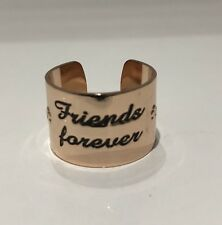 FRIENDS FOREVER ROSE GOLD PLATED PINK ENGRAVED LOVE FRIENDSHIP RING GIFT POUCH