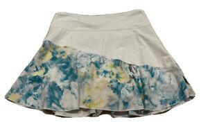 UJA Women White & Floral Tennis Golf Skort Skirt Under Shorts XSmall XS EUC