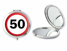 50 Cartello Stradale specchio compatto ideale Donna 50th Compleanno Mamme Giorno Regalo T66