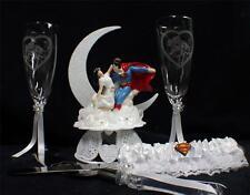 SUPERMAN Clark & Lois Lane Wedding Cake topper LOT Glasses Knife Server Garter