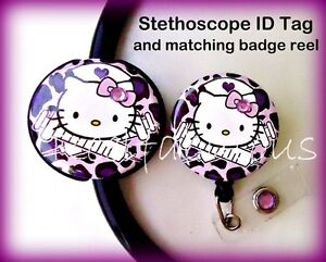Hello Kitty Nurse Badge Reel and Stethoscope ID Tag Combo Set