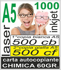 CARTA CHIMICA 1000 A5 RICEVUTE - 500x2 copie - stampante laser e inkjet