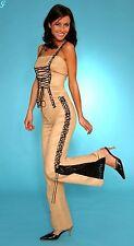 Damen Markenhose beige mit schwarzem Spitzeneinsatz Gr.34