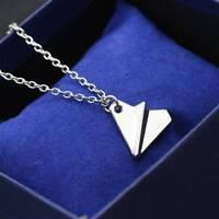 Creative Women Men Paper Airplane Design Pendant Necklace Silver Chain Jewelry