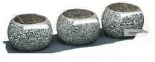 Set Of 3 Silver Crackle Mosaic Glass High Quality Tea Light Candle Holders