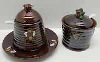 Vtg Brown Glaze Pottery Sugar Bowl Saucer Set Lot Japan Honey Bee Star Rare