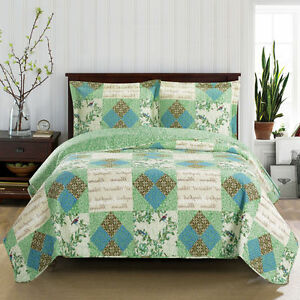 Ultra-soft & smooth Classic Patchwork Pattern 3-PC Davina Coverlet Quilt