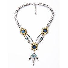 Collier Argenté Mi Long Pendantif Feuille Art Deco Bleu Gros Chaine Punk LL 1