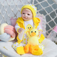 "22"" Yellow Duck Clothes Full Body Silicone Handmade Boy Reborn Doll Rooted Hair"