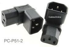 2-Pack Right-Angle UP IEC 320 C14 Male to IEC 320 C13 Female Power Adapters