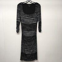 White House Black Market Dress Women's Size M Bodycon White Black Below Knee