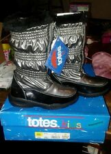 Totes Kids Silver blk Metallic waterproof Winter Boots Girls-12
